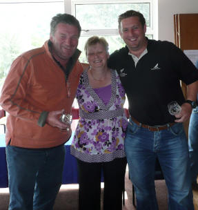 Winners Phil Evans and Richard Rigg with Elaine Hunt